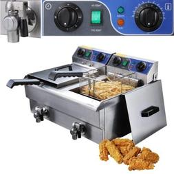 20L Commercial Deep Fryer w/ Timer and Drain Fast Food Frenc