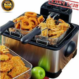 11.7L Electric Deep Fryer Drain Timer Stainless Steel Home C