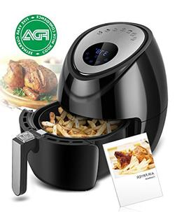 Electric Air Fryer 3.8QT XL Oil Free Low Fat with Cookbook,