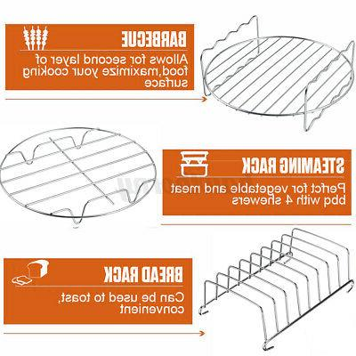 For 3.7-6.8QT Air Accessories 124Pcs Basket Pizza Plate Grill