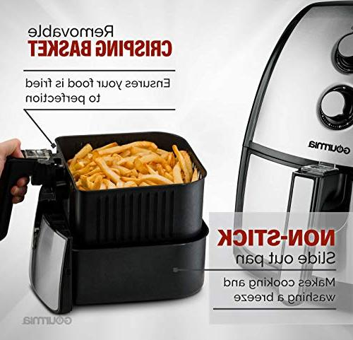 Gourmia 5 Quart Air Fryer Healthy Time Dials | Tray | Book Included