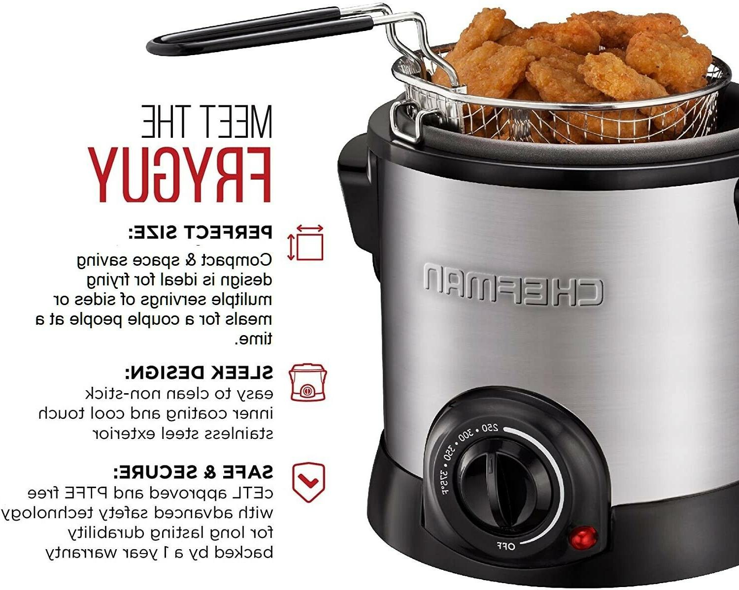 Chefman Fry Guy Deep Fryer with Removable Basket Easy-to-Cle