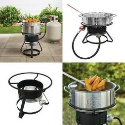 OUTDOOR FRYER SET Gas Stove Propane Stand Aluminum Pot Baske